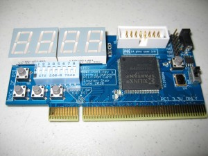 The PCI_POST board populated with components