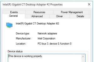 Properties for Intel NIC showing device location
